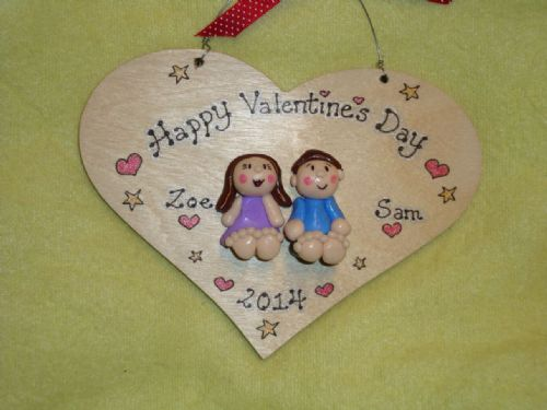 2 character 3d  Wedding Anniversary Personalised Heart shaped wooden Sign Personalised